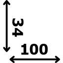 ilgis 100 cm plotis 34 cm