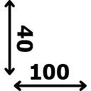 ilgis 100 cm plotis 40 cm