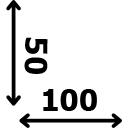 ilgis 100 cm plotis 50 cm