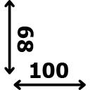 ilgis 100 cm plotis 68 cm