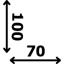 Aukštis 100 cm plotis 70 cm
