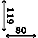 Aukštis 119 cm plotis 80 cm
