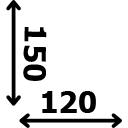 ilgis 120 cm plotis 150 cm