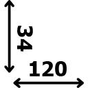 ilgis 120 cm plotis 34 cm