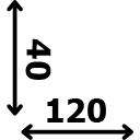 ilgis 120 cm plotis 40 cm