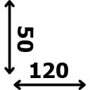 ilgis 120 cm plotis 50 cm