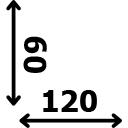 ilgis 120 cm plotis 60 cm