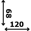 ilgis 120 cm plotis 68 cm