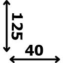 Aukštis 125 cm plotis 40 cm