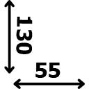 ilgis 130 cm plotis 55 cm