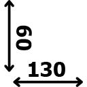 ilgis 130 cm plotis 60 cm