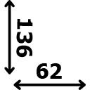 ilgis 136 cm plotis 62 cm