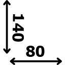 ilgis 140 cm plotis 80 cm