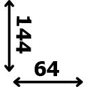 ilgis 144 cm plotis 64 cm
