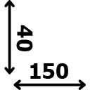 ilgis 150 cm plotis 40 cm