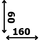 ilgis 160 cm plotis 60 cm