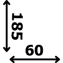 Aukštis 185 cm plotis 60 cm
