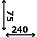 ilgis 240 cm plotis 75 cm