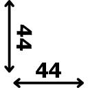 ilgis 44 cm plotis 44 cm