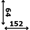 Aukštis 64 cm ilgis 152 cm