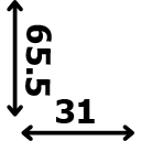 Aukštis 65.5 cm plotis 31 cm