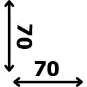 ilgis 70 cm plotis 70 cm
