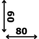 ilgis 80 cm plotis 60 cm