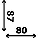 Aukštis 87 cm plotis 80 cm