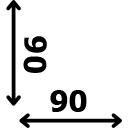 ilgis 90 cm plotis 90 cm